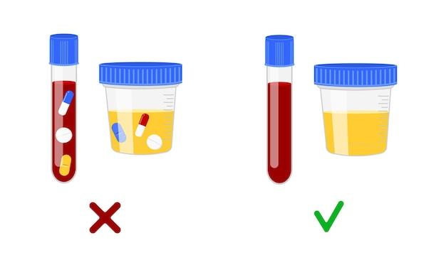 Próbki krwi i moczu z różnymi lekami i bez nich koncepcja kontroli antydopingowej