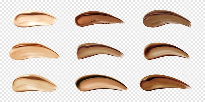 Próbki podkładu kosmetycznego rozmazują się