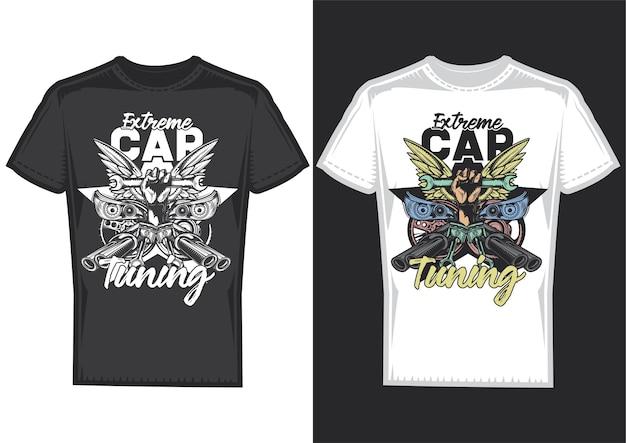 Próbki projektów koszulek z ilustracją przedstawiającą tuning samochodu