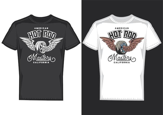 Próbki projektu koszulki z ilustracją koła ze skrzydłami.