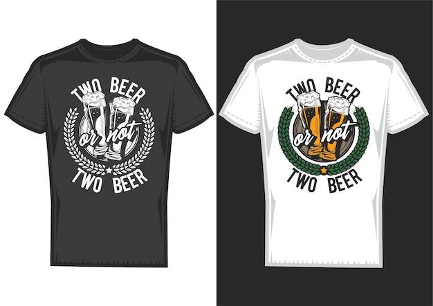 Próbki projektu koszulki z ilustracją projektu piwa.