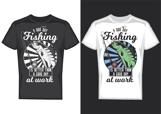 Próbki projektu koszulki z ilustracją przedstawiającą rybę i wędkę.