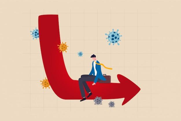 Problem ekonomiczny w kształcie litery l długotrwała recesja lub wielki kryzys związany z koncepcją katastrofy koronawirusa covid-19, przygnębiony, beznadziejny biznesmen siedzi na ekonomicznym wykresie w kształcie litery l i wykresie z koronawirusem