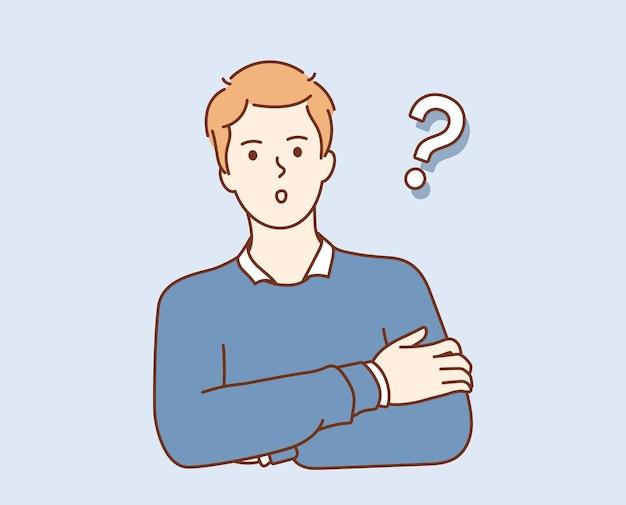 Problem, pytanie, myślenie. młody zdezorientowany mężczyzna postać z kreskówki wyrażająca frustrację trudną sytuacją, próbującą znaleźć rozwiązanie w głowie
