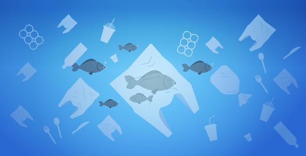 Problem środowiskowy zanieczyszczenia plastikowymi odpadami w oceanie ocalić worki koncepcji ziemi i inne zanieczyszczenia zanieczyszczające pływające w wodzie płasko poziomo