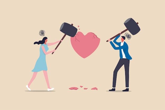 Problem trudności w małżeństwie, rozwód lub przemoc lub bolesna koncepcja pary zepsutego związku, wściekła para mąż i żona używający dużego młotka do uderzenia w kształt złamanego serca metafora problemu rodzinnego