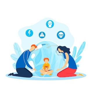 Problem z dzieckiem, rodziną wokół postaci dziecka, ilustracja. kreskówka dziewczyna z bliska od rodzica