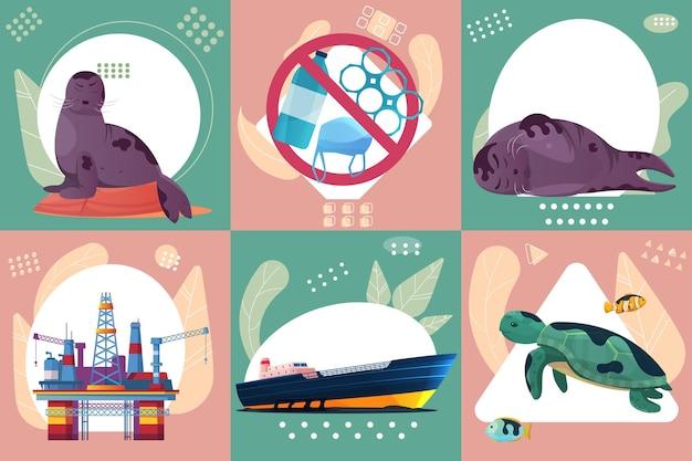 Problem z oceanem sześć kwadratowych ikon z brudnymi zwierzętami morskimi i ilustracjami morskiej platformy wiertniczej