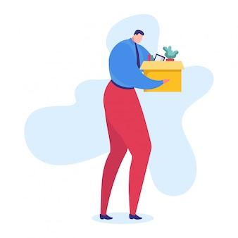 Problemowa ilustracja pracy, postać z kreskówki smutny kierownik opuszcza biuro z pudełkiem rzeczy, odrzucona przez szefa za złą pracę