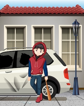 Problemowy chłopak uderzył w okno samochodu