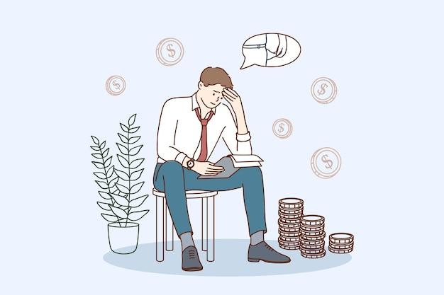 Problemy finansowe i ilustracja koncepcja upadłości