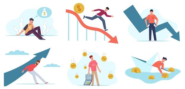 Problemy finansowe. przygnębiony mężczyzna z niespłaconym długiem kredytowym, kryzysem gospodarczym, bankructwem firmy, upadkiem firmy, ludźmi i spadającą strzałą. pieniądze problem koncepcja wektor zestaw płaskich znaków