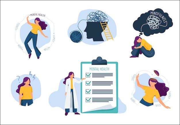 Problemy psychiczne. leczenie ludzkiego umysłu rozpryski emocjonalne choroby opieka medyczna