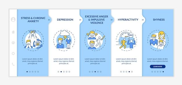 Problemy psychologiczne z samokontrolą szablonu wektora wprowadzającego. responsywna strona mobilna z ikonami. przewodnik po stronie internetowej 5 ekranów krokowych. koncepcja kolorów zdrowia psychicznego z ilustracjami liniowymi