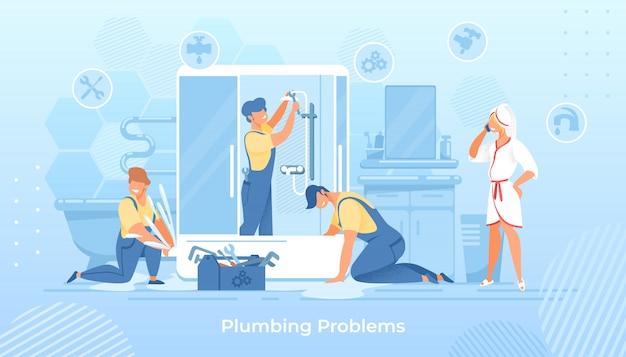 Problemy z instalacją wodno-kanalizacyjną, hydraulicy naprawiający prysznic w wannie