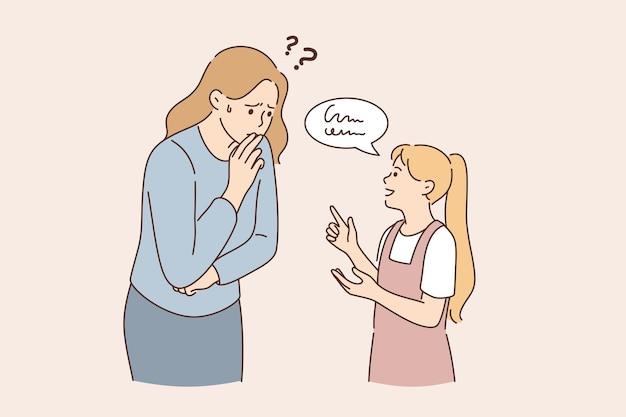 Problemy z komunikacją i rozumienie koncepcji. mała dziewczynka, córka stojąca, rozmawiająca, wyjaśniająca coś sfrustrowanej matce, próbującej zrozumieć ilustrację wektorową