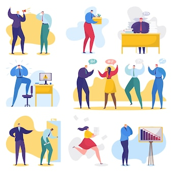 Problemy z pracą i biznesem, konflikt w biurze, ludzie biznesu w stresie, rozwiązywanie problemów zestaw ilustracji.