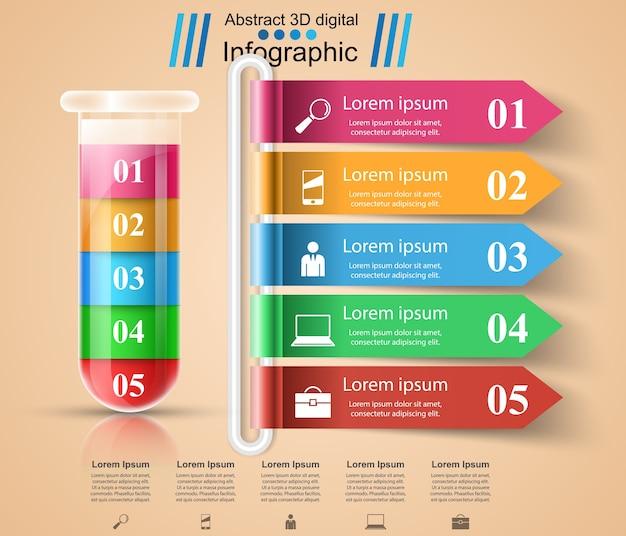 Probówka. eksperymenty. infografiki biznesowe.