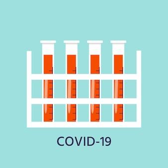 Probówka ikona zapobiegania koronawirusowi z krwią. globalna epidemia lub pandemia. covid-19, choroba zapalenia płuc. wektor