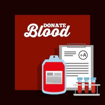 Probówka z workiem krwi i plakat darowizny ze schowka