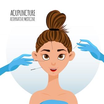 Procedura akupunktury na twarzy dziewczyny. styl kreskówkowy.