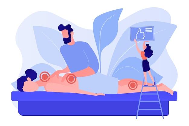 Procedura lecznicza uzdrowiskowa. opieka zdrowotna. leczenie bólu ciała i stresu. profesjonalna terapia masażu, zabiegi lecznicze, leczenie koncepcji ciała. różowawy koralowy wektor bluevector na białym tle ilustracja