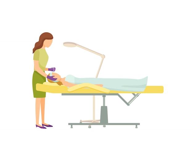 Procedura spa w salonie kosmetycznym na fotelu cartoon