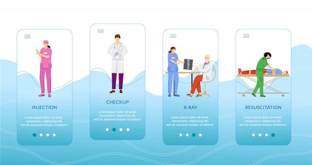 Procedury medyczne na pokładzie szablonu ekranu aplikacji mobilnej.