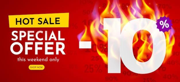Procent zniżki na baner gorącej sprzedaży z płonącymi liczbami plakat rabatowy