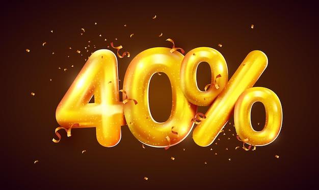 Procent zniżki na kreatywną kompozycję złotych balonów mega wyprzedaż lub czterdzieści procent symbolu premii z banerem sprzedaży konfetti