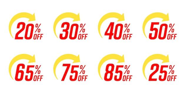 Procent zniżki na szablon etykiety. zestaw szablonów banerów ze specjalną zniżką na sprzedaż