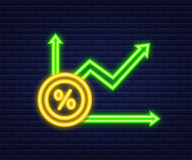Procentowy wykres wzrostu. symbol procentu kredytu. neonowy styl. ilustracja wektorowa.