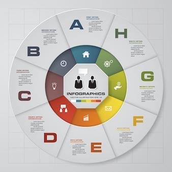 Proces 8 kroków. prosty i edytowalny element abstrakcyjnego projektu. wektor.