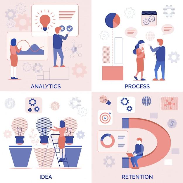 Proces analityczny zestaw pomysłów do przechowywania dla firm