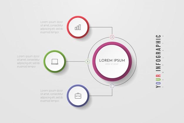 Proces biznesowy infografiki z 3 krokami lub okręgami opcji. wizualizacja danych.