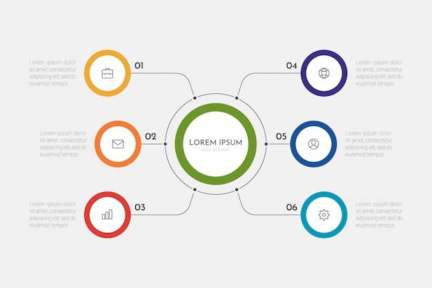 Proces biznesowy infografiki z 6 krokami lub okręgami opcji.