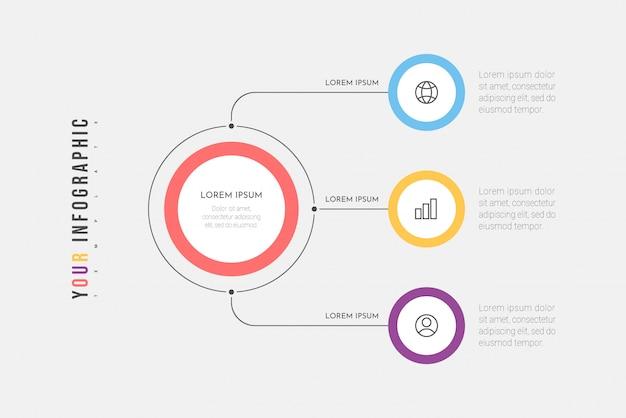Proces biznesowy infografiki z trzema krokami lub okręgami opcji. wizualizacja danych. może być używany do układu przepływu pracy, schematu, banera, projektowania stron internetowych. .