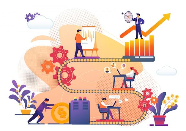 Proces biznesowy metafory osiągania sukcesu.
