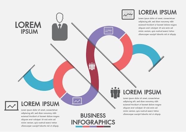 Proces biznesowy. oś czasu infografiki z 3 opcjami, koła