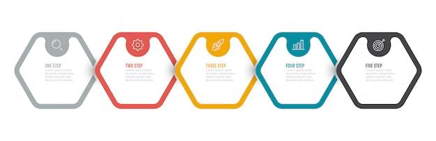 Proces biznesowy. oś czasu infographic projekt z 5 opcjami, kroki, sześciokąt.