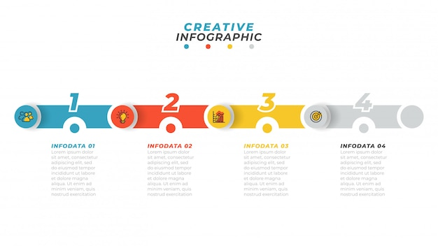 Proces biznesowy. plansza na osi czasu z ikoną marketingu i krok, opcja, układ liczb