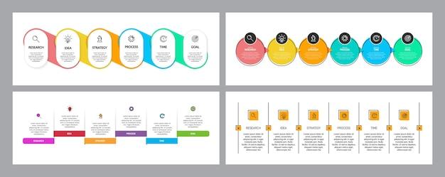 Proces biznesowy z 6 kolejnymi krokami na osi czasu. ustaw kolorowy plansza.
