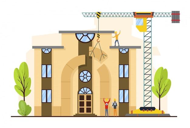 Proces budowlany z domami i maszynami budowlanymi.