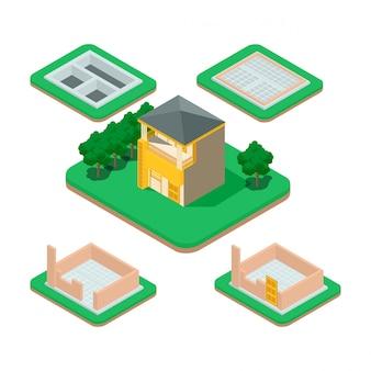Proces budowy domu izometrycznego.