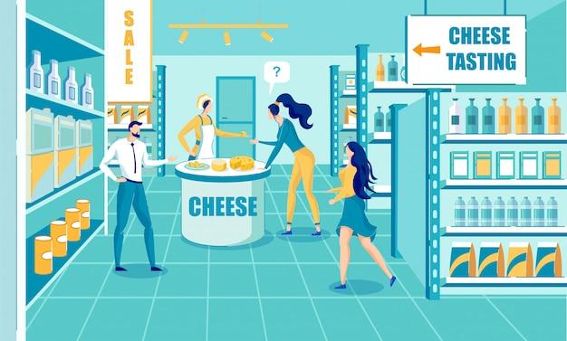 Proces degustacji produkcji sera w sklepie cartoon