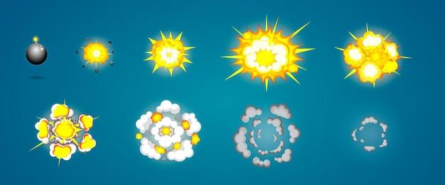 Proces eksplozji w stylu kreskówki detonujący materiały wybuchowe z kolejnymi fazami