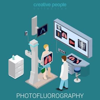 Proces fotofluorografii płaski izometryczny