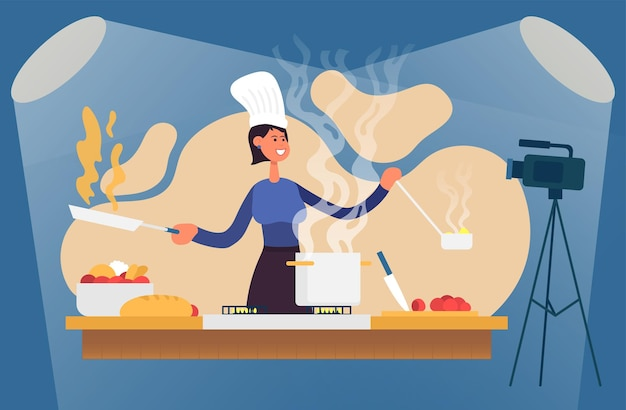 Proces gotowania z szefem kuchni przy stole w kuchni ilustracja wektorowa wnętrza kuchni blogger
