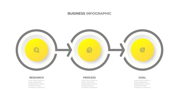 Proces infografiki biznesowej elementy wektorowe z 3 krokami