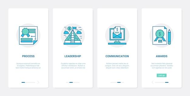 Proces komunikacji start-upu, lidera i zespołu pracowników. ux, ui onboarding aplikacja mobilna z rozpoczęciem nowego projektu biznesowego, przywództwo